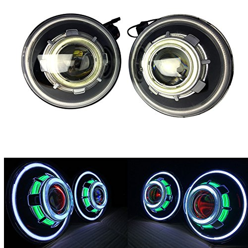 2 Pack-DOT Approved Lantsun 7 Inch 35W Round Demon Eye LED Projectors Headlights with Angel Halos for Jeep Wrangler JK 07-18(A)