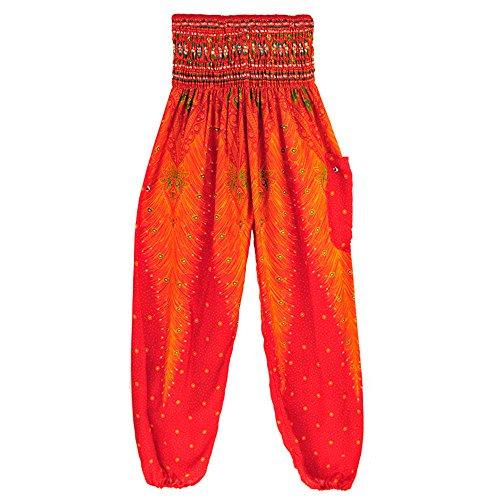 - UONQD Men Women Yoga Pants Thai Harem Trousers Boho Hippy Smock High Waist (Free Size,Red)