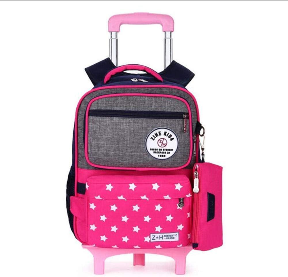 Mochila De Estudiante Trolley Backpack Mochilas Escolares para Estudiantes con Seis Ruedas Mochilas Ortopédicas De Nylon Extraíbles para Mochilas Juveniles