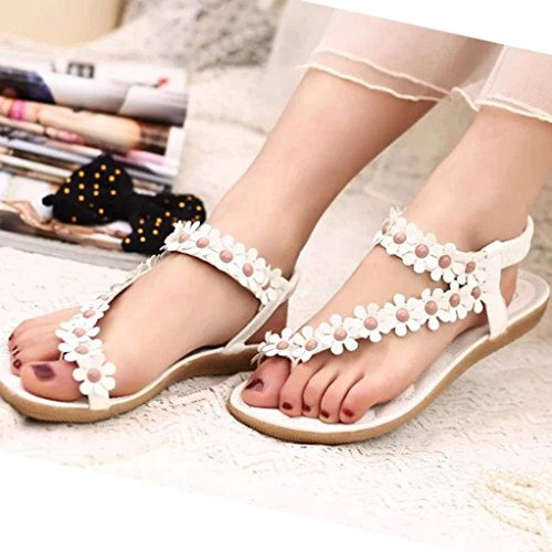 Herringbone sandales Clip Bohème sandales Femmes plage perles Toe Blanc Fulltime® sandales FqxYZI8w7x