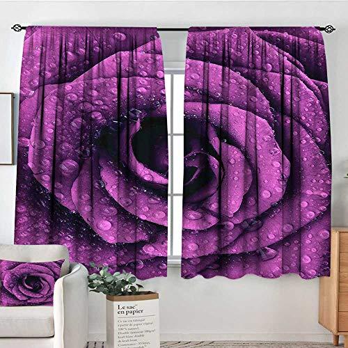 (Purple,Bedroom Girs Curtains Fresh Raindrops Rose Petal 52