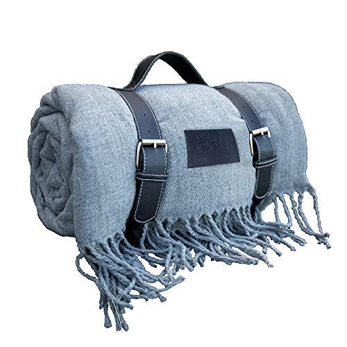 Beautiful Soft-Warm Picnic Blanket, Beach Blanket, Extra Large, Folding, Picnic mat, Waterproof, Outdoor, Gift Box, for Picnic Basket (Grey)