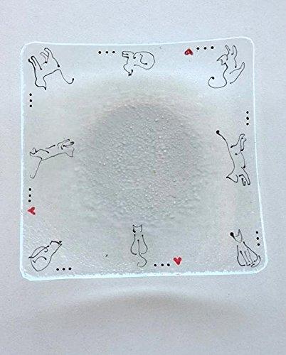 original unique artisanal De Verre et de Couleurs assiette Cadeau amoureux chat vide poche coupelle art du verre verre fusionn/é fusing