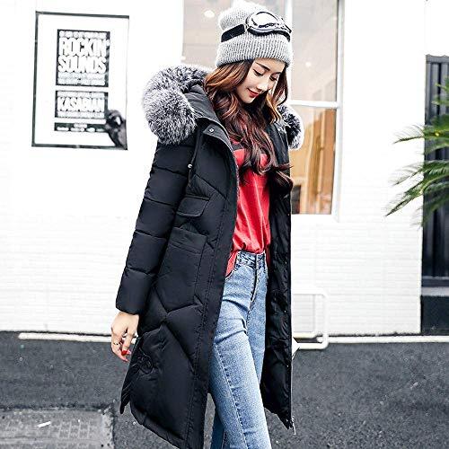 Red color Abrigo Tamaño B L Mujer Negro Para Piel Zhrui De Abrigos Con Capucha SSdPz8wq