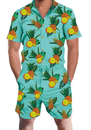 Loveternal Hawaii Short Sleeve Romper Suit Blue Jumpsuit Playsuit Overalls One Piece for Mens Audult