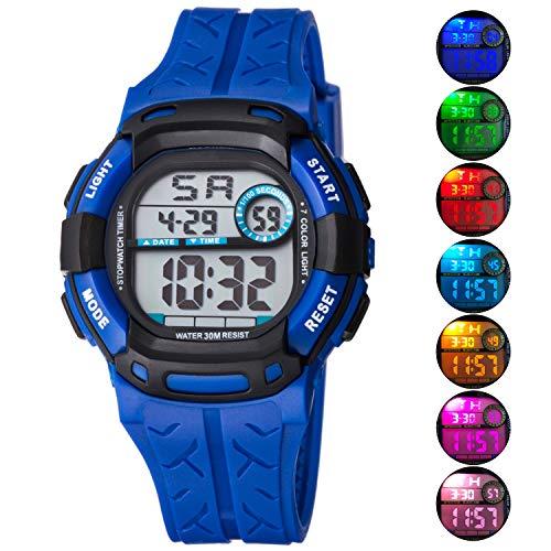 ti Function 30M Waterproof LED Alarm Stopwatch Digital Child Wristwatch for Boy Girl Blue ()
