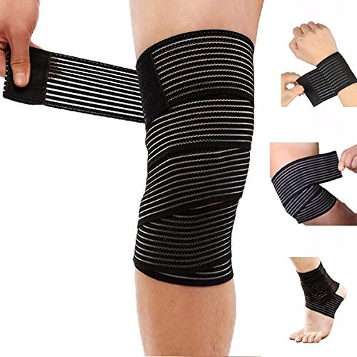 DreamPalace India 78 Inches Elastic Compression Weight Lifting Knee Wraps Perfect for Squats, Powerlifting, Olympic Crossfit – Pack of 2 Price & Reviews