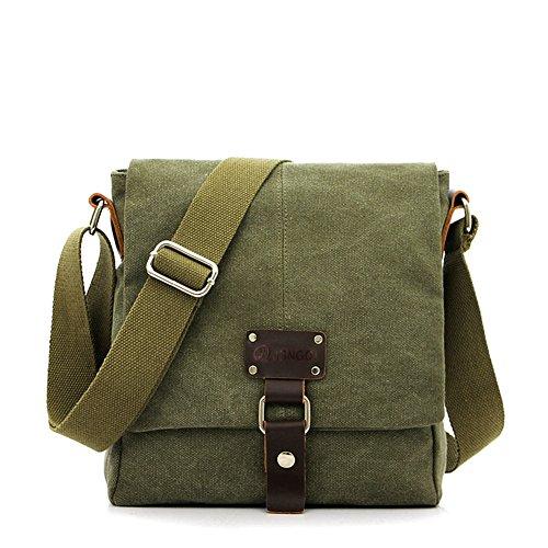 Genda 2Archer Lienzo Casual Viajes Multifunción Pequeño Peso ligero Individual Bolsa de Hombro para Hombre y Mujer (Azul) Ejército Verde