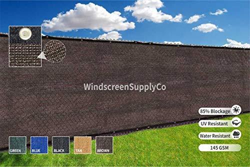 Heavy Duty 6 ft. X 50 ft. Privacy Windscreen Fence Screen Mesh Tarps W/Binding Grommets (3, Brown)