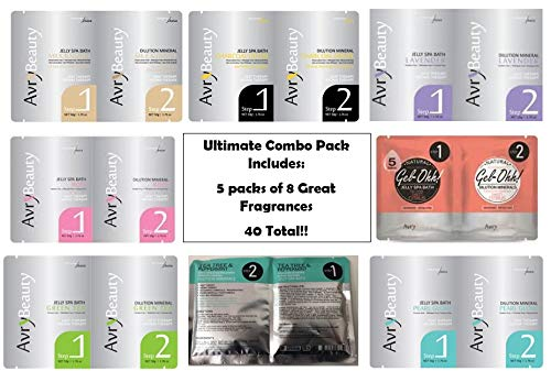 Jelly Spa Bath by Avry Beauty Jelly Pedi - Ultimate Combo with 5 of Each Fragrance (40 Total) Including 2 New Fragrances! (Tea Tree & Peppermint and Sweet Citrus)