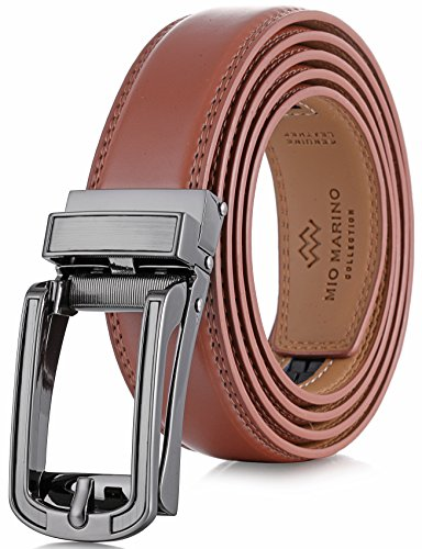 (Marino Avenue Mens Genuine Leather Ratchet Dress Belt with Open Linxx Leather Buckle, Enclosed in an Elegant Gift Box - Light Tan - Style 71 - Custom Up to 44