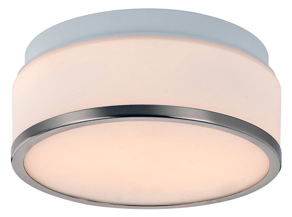 Haysom Interiors Opal Glass Stylish Bathroom Ceiling Light, Metal Chrome