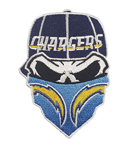 - Los Angeles Chargers~Iron On Skull with Bandana Patch 3.4 x 2.3 inches