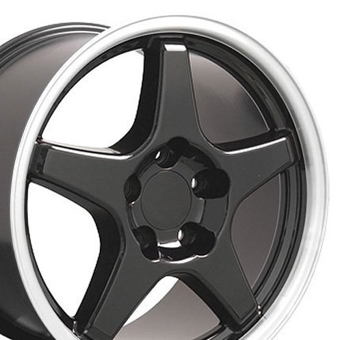17x9.5 Wheel Fits Corvette, Camaro - ZR1 Style Black Rim w/Mach'd (Mach Lip)
