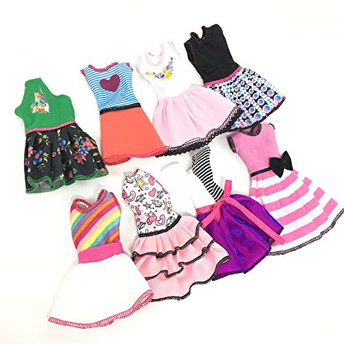 Barbie Outfits For Halloween (Lanlan Fashion Handmade Dresses outfit Clothing Set Casual One-piece Dress for Barbie Doll Style Random 10 pcs for a set)
