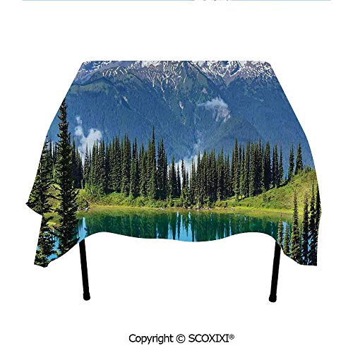 SCOXIXI Nice Gift Tablecloth Washable Polyester Fabric,Lake and Snowy Glacier Peak in Washington USA Tall Pine Tree Forest,W55XL55 Inches