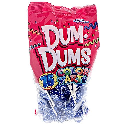Blue Dum Dums Color Party - Blueberry Flavored - 75 Count Bag - 12.8 ounces - Includes Free How To Build a Candy Buffet Guide -