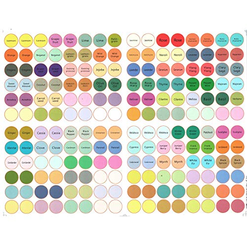 1/5 Sheet Round Essential Oil Cap Stickers Multiple & Blank Stickers Essential Oil Organized Labels 192 Stickers/Sheet (Color : 960 Stickers(5 Sheet))