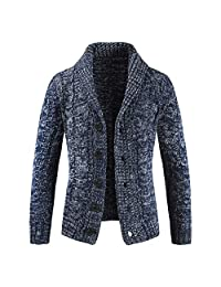 Kingfansion Mens Cable Knit Shawl Collar Cardigan Sweater Jacket Coat Outwear
