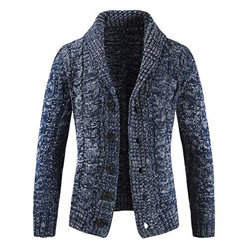 HOSOME Men Zip Sweater Jacket Autumn Winter Casual Long Sleeve Slim Pocket Fit Coat Navy