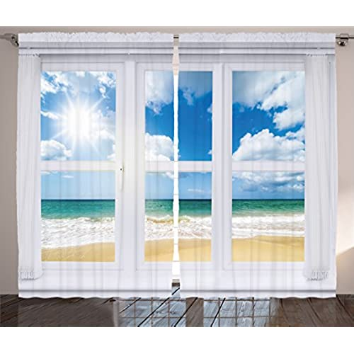 House Decor Curtains By Ambesonne Beach Window Overlooking An Ocean View Bright Sunshine Sandy Cloudscape Living Room Bedroom 2 Panel Set