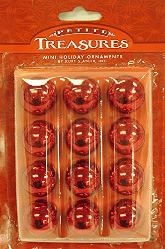 12ct Petite Treasures Shiny Red Mini Glass Ball Christmas Ornaments 1