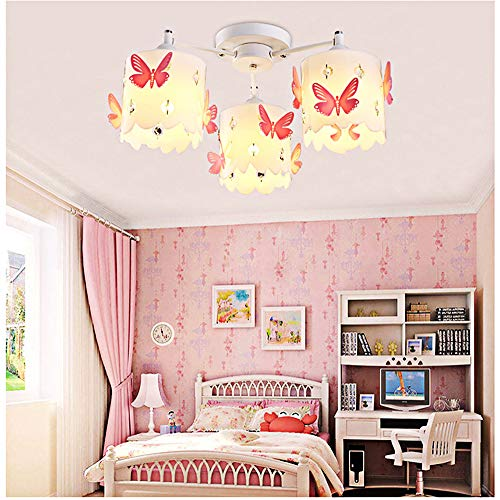 (Kids Chandeliers for Girls Room LED Pink Crystals Butterfly Round Ceiling Lighting Princess Modern Simple Warm Romantic Design Style Ceiling Lamp Chandelier for Children's Bedroom Wedding room 3-light)