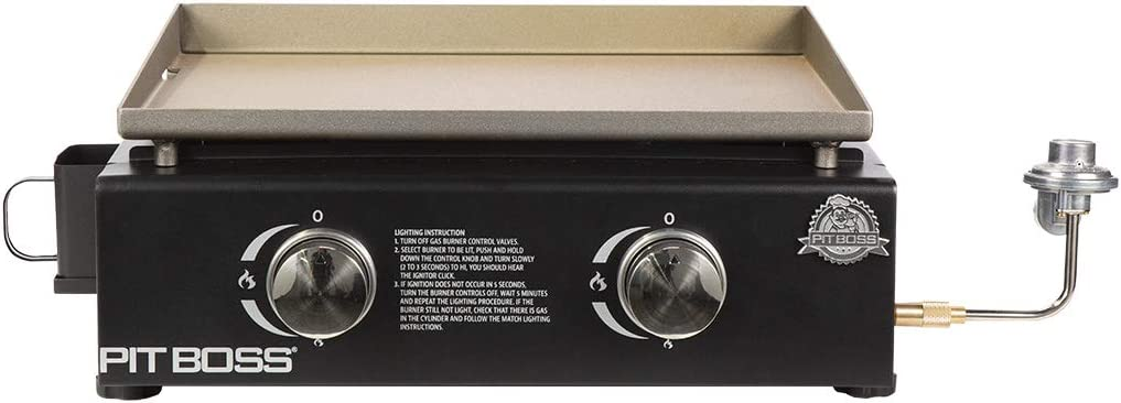 PIT BOSS PB336GS 2 Burner Table Top Gas Cast Iron Griddle, Black