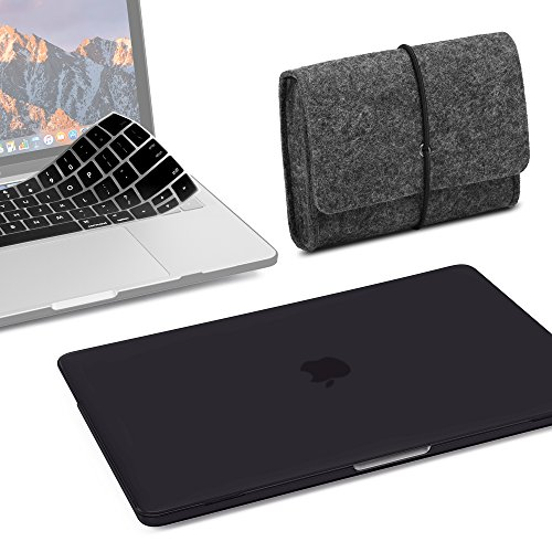 GMYLE 3 in 1 bundle Black set soft-touch matte plastic hard case with keyboard cover for New Macbook Pro 13 inch with/without touch bar (a1706/a1708,2016&2017 release) and felt storage pouch bag