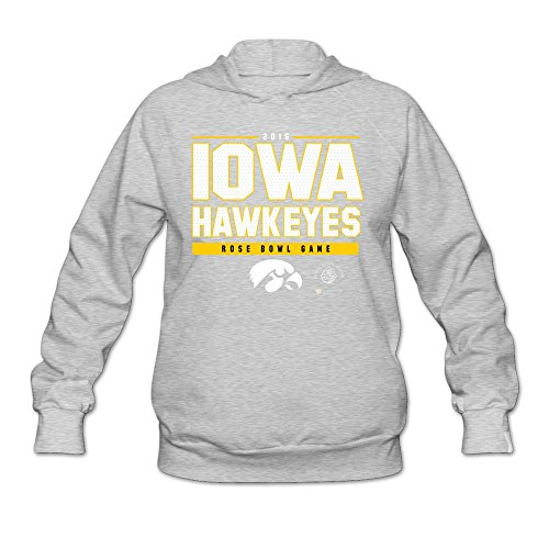 Agongda Women's IOWA HAWKEYES BLACK 2016 ROSE BOWL BOUND SNAP Hoodies L Ash