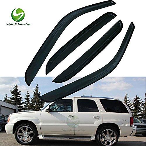 Saiyingli Technology For 00-06 Chevrolet Tahoe 02-06 Cadillac Escalade Base 4pcs Front & Rear Smoke Sun/Rain Guard Vent Shade Window Visors