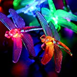 Qedertek Battery Powered Dragonfly String Lights,7.34ft 20 LED Waterproof Decoration Lighting for Indoor/Outdoor,Patio,Lawn,Garden,Party,Wedding,and Christmas (Multi-color)