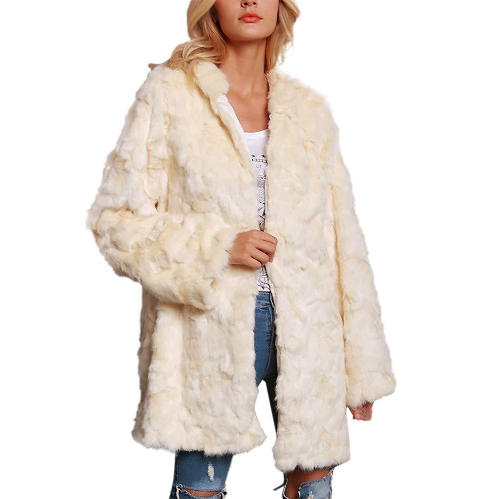 Kanzd Women Coat Womens Ladies Warm Faux Fur Coat Jacket Winter Solid Parka Hooded Outerwear (Beige, XL)