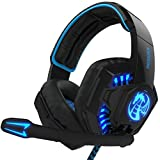 NOSWER I8 Stereo Gaming Headset LED Lighting Headband 3.5mm Over-Ear Headphone with Microphone for PC Computer Laptop EMMETTS