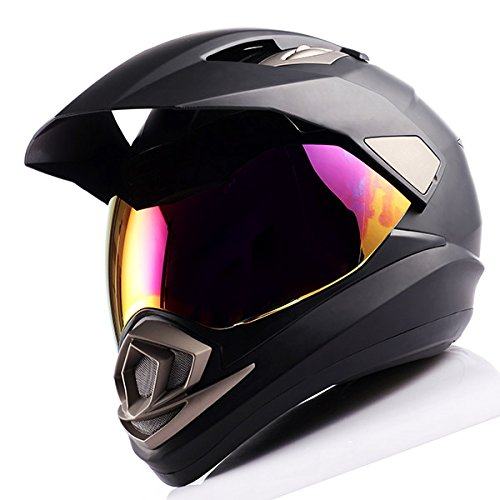 Dual Sport Helmet Motorcycle Full Face Motocross Off Road Bike Matt Black by 1Storm (Image #2)