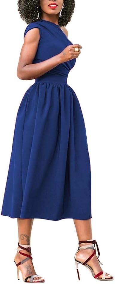 TALLA (EU 44-46)L. Lover-Beauty Vestido Mujer Largo Elegante Sexy Moda Mujer Ropa Escote-V Manga Larga Ajustado Falda Manga Abullonada Maxi Vestido Mujer Africano para Fiesta Rojo Suelto (EU 44-46)L