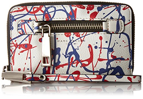 Marc By Marc Jacobs Leather Clutch (Marc Jacobs Splatter Paint Zip Phone Wristlet Clutch , White Multi, One size)