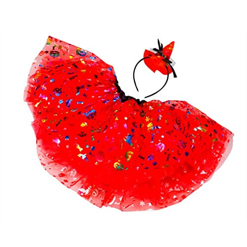 Coper Amazing Halloween Outfits, Toddler Kids Girls Fancy Party Tutu Skirt+Headband Set (A, 3-12T) -