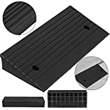 "Mophorn Rubber Curb Ramp 4""High 10"" Wide Rubber Threshold Ramp Heavy Duty 5 Ton Curb Ramp for Loading Dock Bike Mower Cart and Wheelchair"