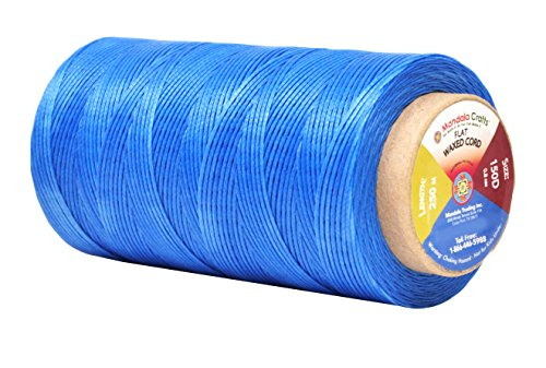 - Mandala Crafts 150D 210D 0.8mm 1mm Leather Sewing Stitching Flat Waxed Thread String Cord (150D 0.8mm 250M, Sky Blue)
