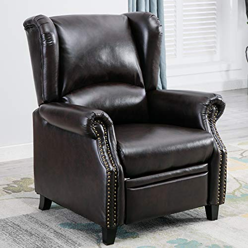 CANMOV Recliner Chair, Push Back Recliner Club Chair,Modern Faux Leather Wingback Recliner Chair,Brown01 (Wing Chair Leather Back)