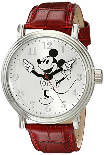 - Disney Men's W001864 Mickey Mouse Analog Display Analog Quartz Red Watch