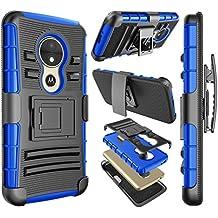 Moto E5 Play Case, Motorola Moto E5 Cruise case, Njjex [Ngate] Armor Shockproof Swivel Locking Holster Belt Clip Kickstand Heavy Duty Defender Full Body Protective Carrying Case Cover [Blue]