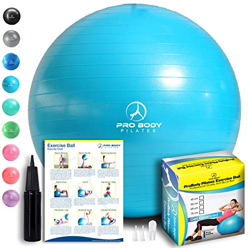 Exercise Ball - Professional Grade Anti-Burst Fitness, Balance Ball for Pilates, Yoga, Birthing, Stability Gym Workout Training and Physical Therapy (Teal, 55 cm)
