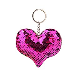 Sequins Heart Keychain for Girls