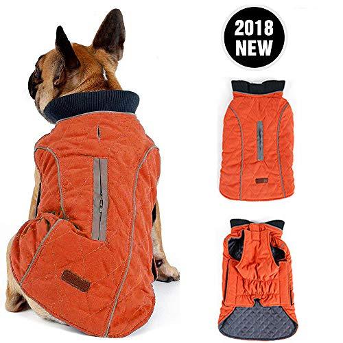 Morezi Retro Design Cozy Winter Dog Pet Jacket Vest Warm Pet Outfit Clothes Pleat Cotton 2 Colors with Harness Hole - XL - Orange