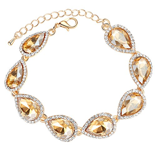 mecresh Flower Teardrop Champagne Austrian Crystal Bracelet for Women or Bridesmaids