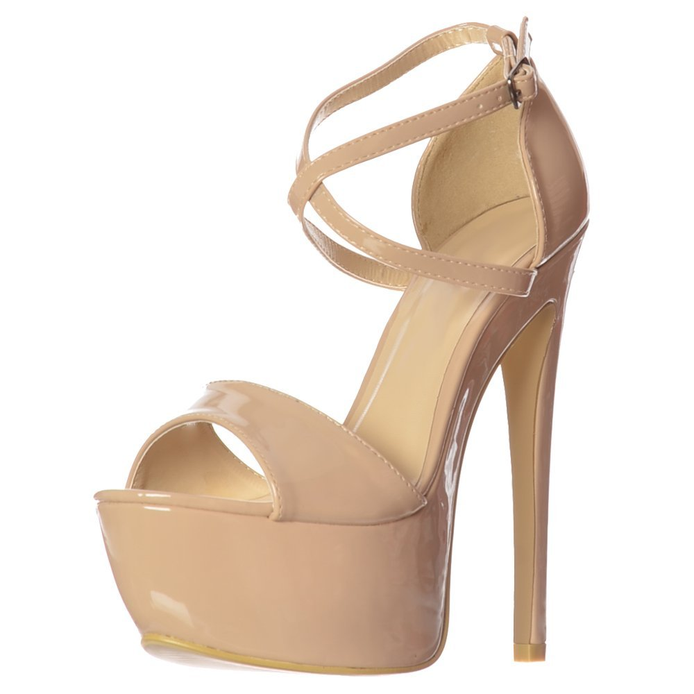 e48df01ef99 Onlineshoe Women's Ladies Strappy Cross Over Pastel Stiletto Platform High  Heel Party Shoes - Patent Pink, White, Patent Yellow