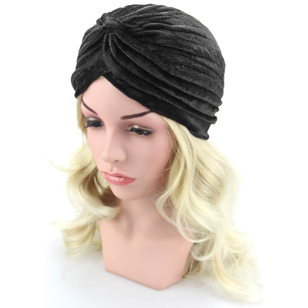 FlYHIGH Hat Womens Stretchy Turban Hat Chemo Cap Bandana Hijab Pleated Solid Color Head Wrap: Amazon.es: Hogar