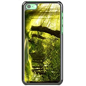Apple iPhone 5C Cases Customized Gifts Of Photography green nature dual monitor Dual Monitor Black